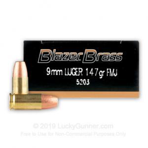 9mm - 147 Grain FMJ - Blazer Brass - 1000 Rounds 004544650597