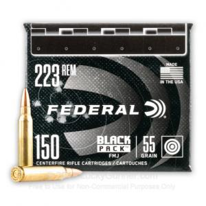 223 Rem - 55 Grain FMJ - Federal Black Pack - 600 Rounds 004544653635