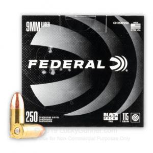 9mm - 115 Grain FMJ - Federal Black Pack - 1000 Rounds 004544654663
