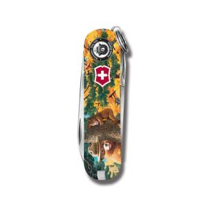 "Victorinox Swiss Army Classic SD Smokey Bear Series 2.25"" with Tree Hugging Printed ABS Handle and Stainless Steel Blades and Tools Model STBV581 STBV581"