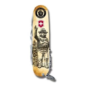 """Victorinox Swiss Army Tinker Smokey Bear Series 3.625"""" with Waving Smokey Printed ABS Handles and Stainless Steel Blades and Tools Model STBV913 010733885812"""