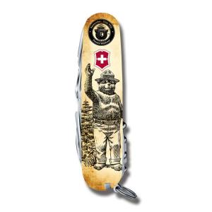 "Victorinox Swiss Army Tinker Smokey Bear Series 3.625"" with Waving Smokey Printed ABS Handles and Stainless Steel Blades and Tools Model STBV913 STBV913"