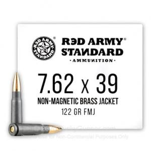 7.62x39 - 122 Grain Steel Case Nonmagnetic Brass FMJ Projectile - Red Army Standard - 1000 Rounds AM3265