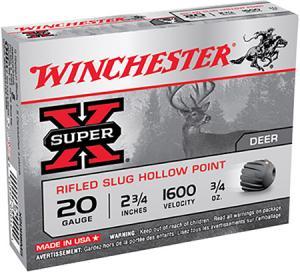 Winchester Super-X 20GA 2.75-inch 3/4oz Rifled Slug 5Rds X20RSM5