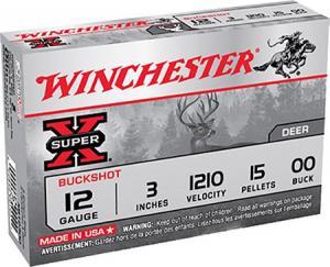 Winchester Super-X 12GA 3-inch 00BK 15Pellets 5Rds XB12300