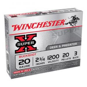 Winchester Super-X 20GA 2.75-inch 3 Buck 20 Pellets 5rds XB203