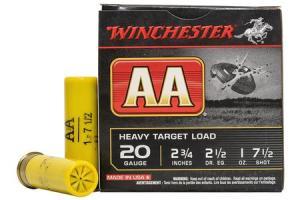 WINCHESTER AMMO 20 Gauge 2-3/4 in 1 oz 7-1/2-Shot AA Heavy Target Load 25/Box AAH207