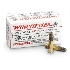 Winchester Wildcat Lead Round Nose 40 Grain Brass .22 LR 50Rds WW22LR