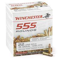 555 rounds Winchester USA White Box .22LR 36 Grain HPCP Ammo 22LR555HP
