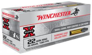 Winchester Ammo X22MSUB Super-X 22 WMR 45 Grain Jacketed Hollow Point 50 Rounds X22MSUB