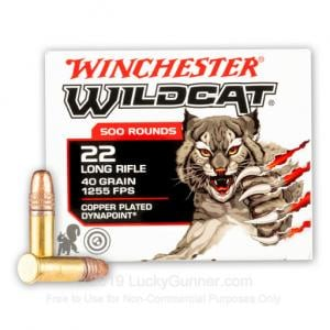 22 LR - 40 Grain CPHP - Winchester Wildcat - 500 Rounds WW22LRB