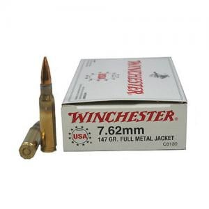 Winchester USA 762X51 147GR FMJ 20rds Q3130