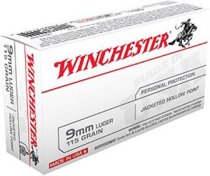 Winchester Ammunition 115 Grain Jacketed Hollow Point Brass 9mm 50Rds USA9JHP