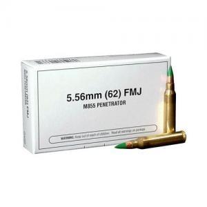 Winchester Ammunition M855 5.56NATO 62GR FMJ 20rds 020892213371