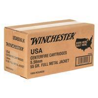 Winchester, USA, 5.56 NATO, FMJ, 55 grain, 1,000 Rounds 020892225084