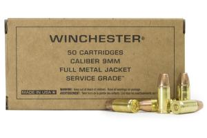 Winchester Service Grade Full Metal Jacket Flat Nose 115 Grain Brass 9mm 50Rds 020892225190