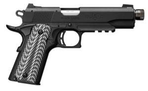 Browning 1911-22 Black Label Suppressor Ready with Rail Black and gray G-10 with angled serrations .22 LR 4.875-inch 10Rd 051820490