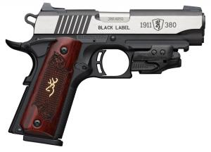 "Browning 1911-380 Black Label Medallion Compact with Laser .380 ACP Semi Auto Pistol 3.625"" Barrel 8 Rounds Checkered Wood Grips Polymer Frame Two Tone Stainless/Black Finish 051953492"