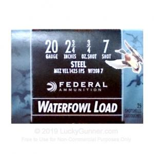 "20 ga - 2-3/4"" Steel Shot Waterfowl Load - 3/4 oz. #7 - Federal Speed-Shok - 25 Rounds WF208 7"