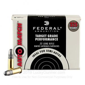 22 LR - 40 Grain LRN - Federal AutoMatch Target - 3250 Rounds 029465057355