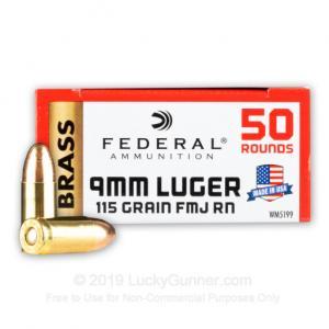 9mm - 115 Grain FMJ - Federal Champion - 1000 Rounds WM5199