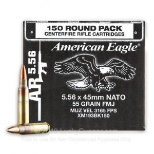 5.56x45mm NATO - 55 Grain FMJ - Federal American Eagle - 600 Rounds 029465065220