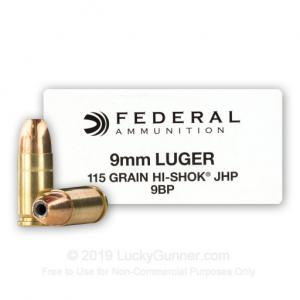 9mm - 115 Grain JHP - Federal Classic Personal Defense - 50 Rounds 029465088163