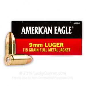 9mm - 115 Grain FMJ - Federal American Eagle - 1000 Rounds 029465088229