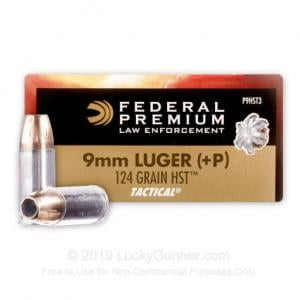 Federal Tactical HST 9mm Luger +P 124gr 50 Round Box P9HST3 029465098063