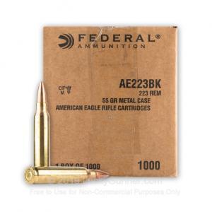 Federal Ammo AE .223 Rem 55gr FMJ 1000 Round Bulk AE223BK 029465099324