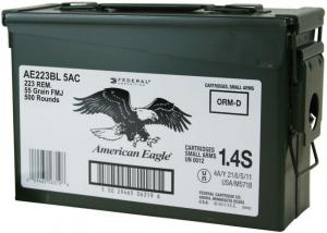 Federal American Eagle .223REM 55gr FMJ 500rds Ammo Can 029465562526