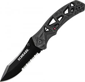 Schrade SCHA11BS Shizzle 7.7in S.S. Assisted Opening Folding Knife with 3.4in Serrated Drop Point Blade and Aluminum Handle for Survival, Tactical and EDC 044356224703