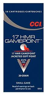 CCI Gamepoint .17HMR 20GR Jacketed Soft Point 50Rds 52