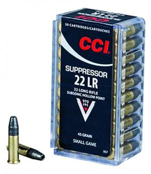 CCI/Speer Suppressor, 22LR, 45 Grain, Hollow Point 957 50/100 957
