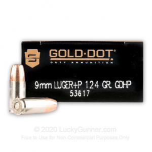 9mm Luger - +P 124 Grain JHP - Speer Gold Dot - 1000 Rounds 076683536171