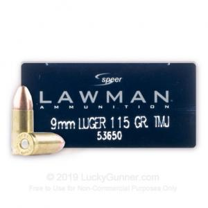 9mm - 115 Grain TMJ - Speer LAWMAN - 50 Rounds 076683536501