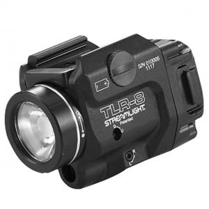 Streamlight TLR-8 Tactical Weapon Light w/Laser Sight, Rail Mounted, 500 Lumen LED, 640-660nm Red Laser, 1 x CR123A Battery, Black, 69410 69410