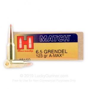 Hornady Match Ammo 6.5 Grendel 123gr AMAX 20 Round Box 8150 090255381504