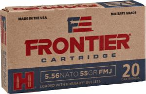 Hornady Frontier 5.56 NATO 55 Grain FMJ, 20 Rounds FR200 090255711391