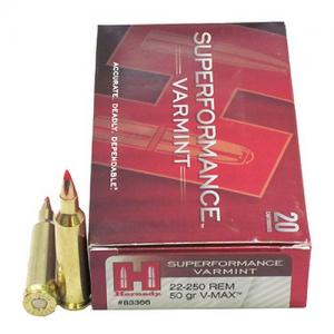 Hornady Superformance Varmint .22-250Rem 50GR V-Max 20Rds 83366