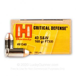 40 S&W - 165 Grain JHP FTX - Hornady Critical Defense - 200 Rounds 090255913405