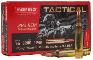 Norma Tactical .223 Remington 55gr FMJ Brass Cased Centerfire Rifle Ammo, 150 Rounds, 20157704 20157704
