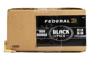 FEDERAL AMMUNITION 22 LR 36 gr Copper Plated Hollow Point Black Pack 1600/Box 788BF