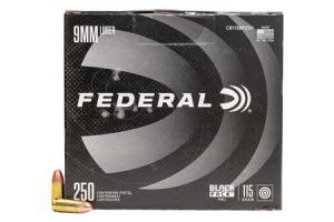 FEDERAL AMMUNITION 9mm Luger 115 gr FMJ Black Pack 250/Box C9115BP250