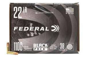 FEDERAL AMMUNITION 22LR 38 gr Copper Plated Hollow Point Black Pack 1100/Box 788BF1100