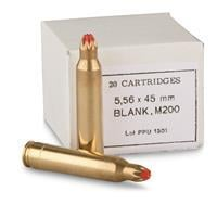 PPU, .223 (5.56x45mm), M200 Standard Blank Ammo, 20 Rounds PPB556