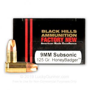 9mm - 125 Grain Subsonic HoneyBadger - Black Hills - 20 Rounds D9N1120