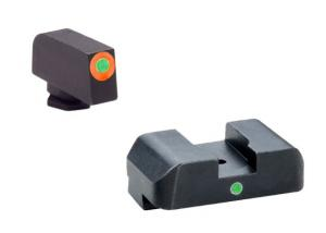 Ameriglo Night Sight Set - Pro I-Dot Style - Green w/ ProGlo Orange Outline Front / Single Green Rear - Fits For Glocks 17 GL201