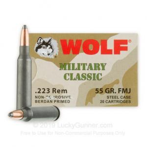 223 Rem - 55 gr FMJ - Wolf WPA MC - 20 Rounds 645611300783