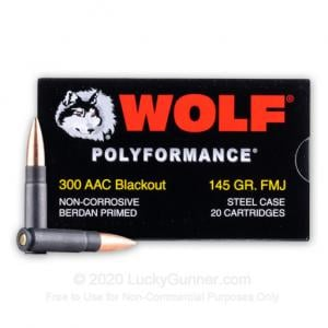 300 AAC Blackout - 145 Grain FMJ - Wolf - 20 Rounds WOL300AACFMJ
